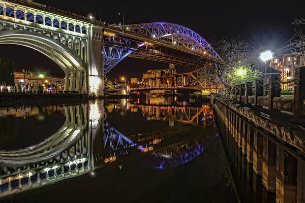 Photograph - Reflections Of Veterans Memorial Bridge  by Brent Durken