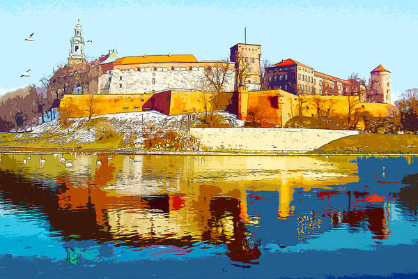 Digital Art - Reflections Of Wawel, Krakow Castle, Poland From The Vistula Riv by Anthony Murphy