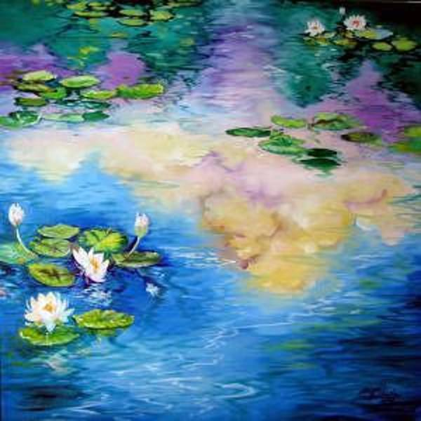 Painting - Reflections On A Waterlily Pond by Marcia Baldwin