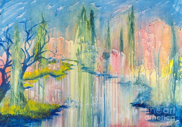 Painting - Reflections On Pond by Walt Brodis