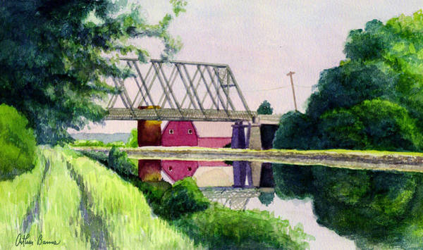 Ashes Painting - Reflections On The Erie Canal by Arthur Barnes