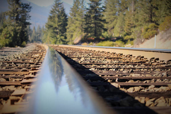 Railroad Tie Wall Art - Photograph - Reflections On The Rail by Marnie Patchett