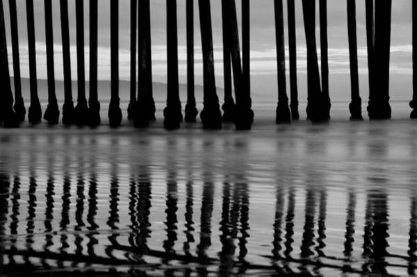 Photograph - Reflections Under The Pier - Pismo Beach California Bw by Gregory Ballos