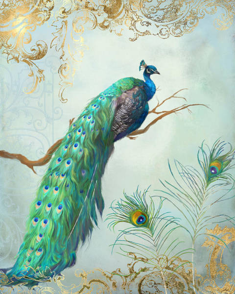 Illustrator Wall Art - Painting - Regal Peacock 1 On Tree Branch W Feathers Gold Leaf by Audrey Jeanne Roberts