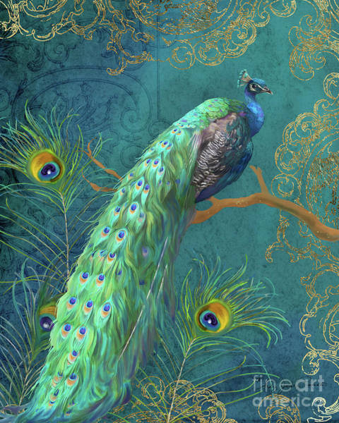Wall Art - Painting - Regal Peacock 3 Midnight by Audrey Jeanne Roberts
