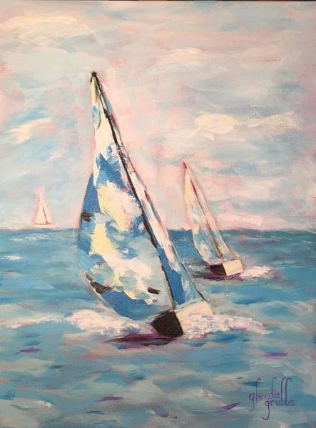 Impressionistic Sailboats Painting - Regatta Blue by Glenda Grubbs