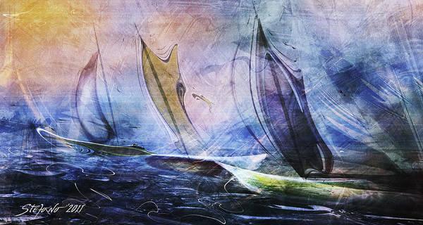 Speed Boat Digital Art - Regatta by Stefano Popovski