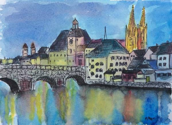 Painting - Regensburg At Night by Emily Page