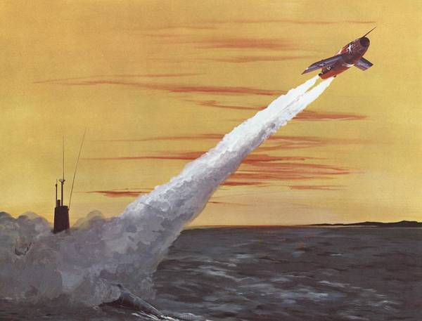 Air War Painting - Regulus I Surface To Air Missile by American School