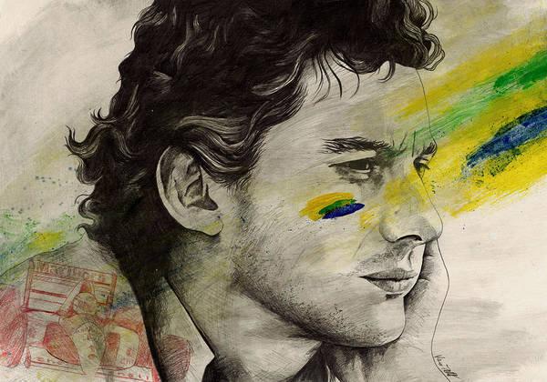 Ayrton Senna Wall Art - Drawing - Rei Do Brasil - Tribute To Ayrton Senna Da Silva by Marco Paludet