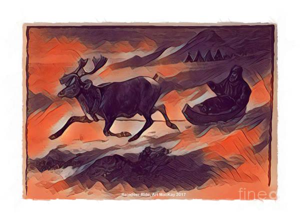 Digital Art - Reindeer Ride by Art MacKay