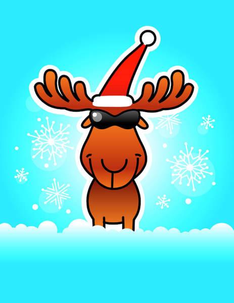Vertical Digital Art - Reindeer Wearing Santa Hat And Sunglasses by New Vision Technologies Inc