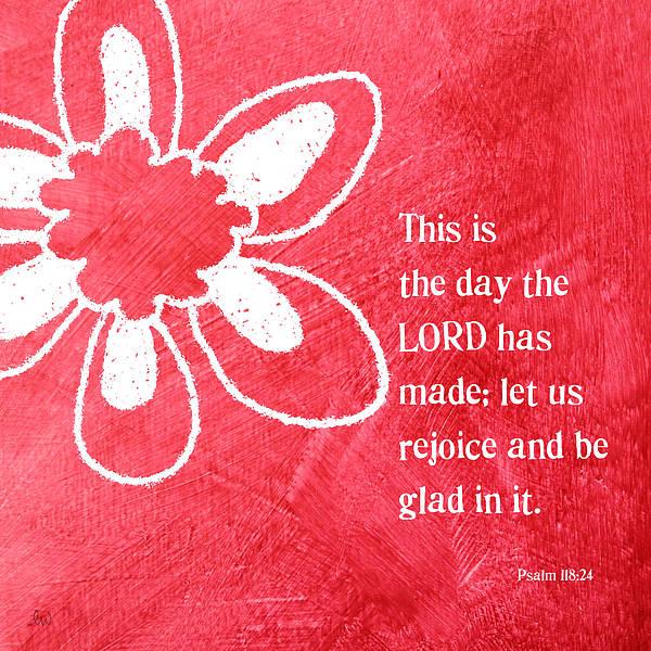Scripture Mixed Media - Rejoice by Linda Woods