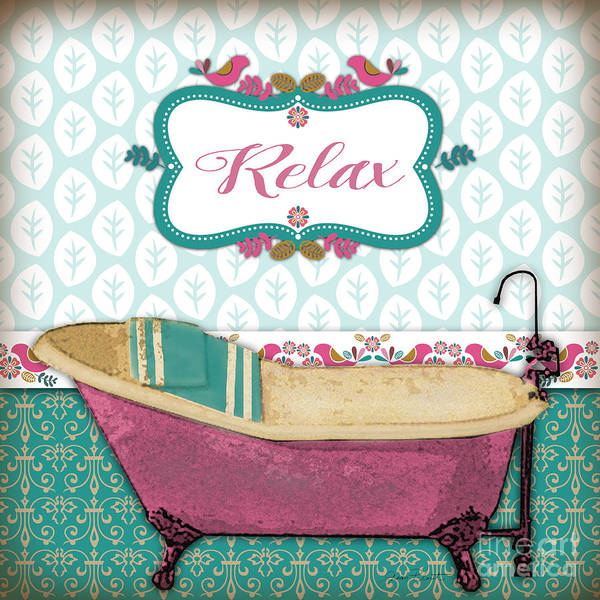 Tub Wall Art - Painting - Relax Bath Art-jp3527 by Jean Plout