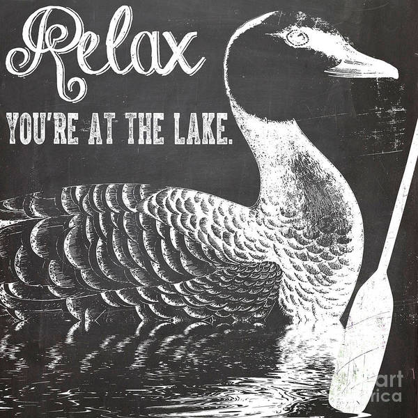 Rustic Painting - Relax Lake House Duck Sign by Mindy Sommers