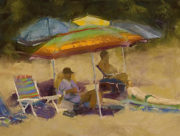 Sunbather Wall Art - Pastel - Relaxing At The Lake by David Patterson