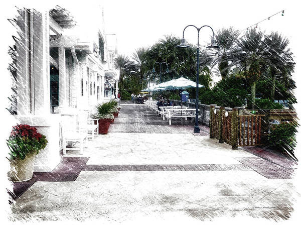 Town Square Mixed Media - Relaxing On The Patio Walt Disney World by Thomas Woolworth