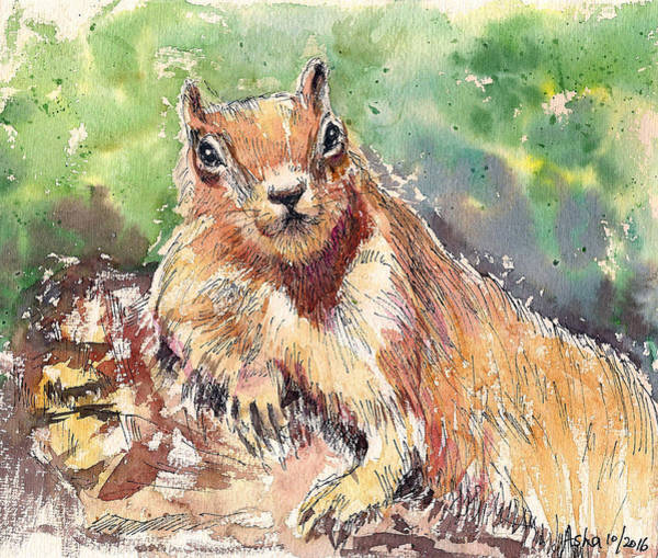 Painting - Relaxing Squirrel by Asha Sudhaker Shenoy