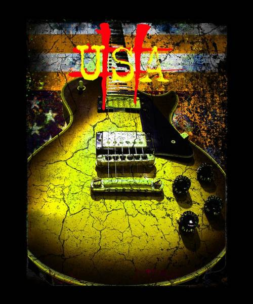 Digital Art - Relic Guitar Music Patriotic Usa Flag by Guitar Wacky