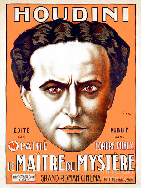 Photograph - Remastered Nostagic Vintage Poster Art Houdini Master Of Mystery by Wingsdomain Art and Photography