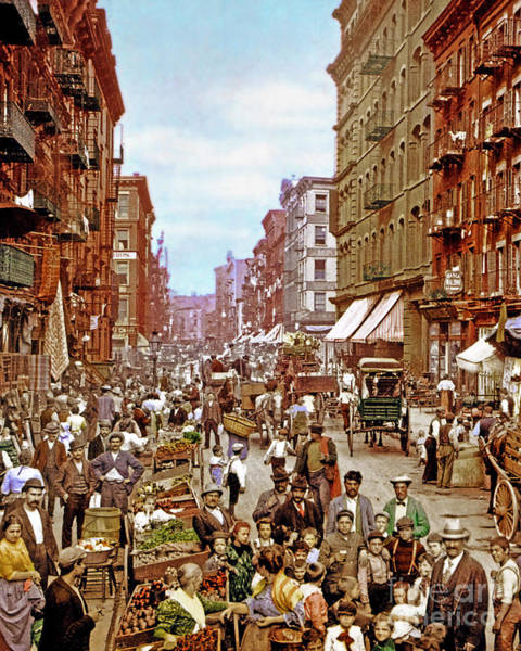 Italian Immigrants Wall Art - Photograph - Remastered Photograph Mulberry Street Manhatten New York City 1900 20170716 Vertical Cut by Wingsdomain Art and Photography