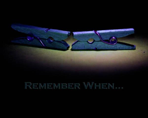 Photograph - Remember When Blue Clothes Pins Card by Lesa Fine