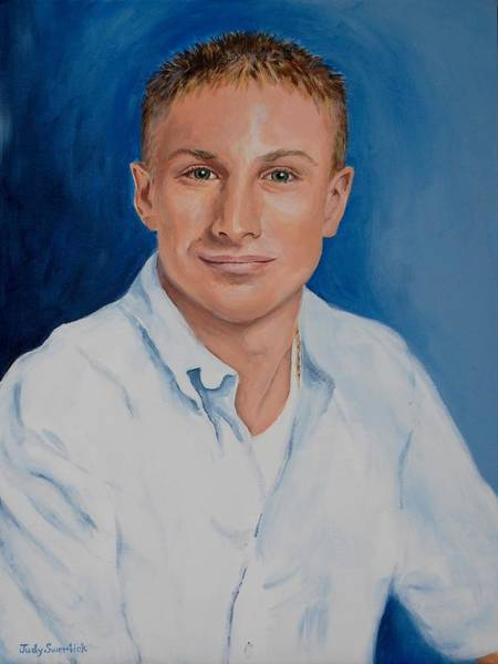 Wall Art - Painting - Remembering A Special Young Man by Judy Swerlick