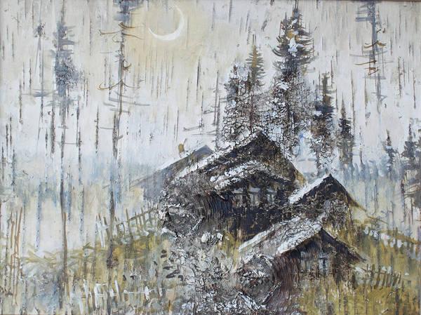 Painting - Remote Russian Village In Winter Night by Ilya Kondrashov