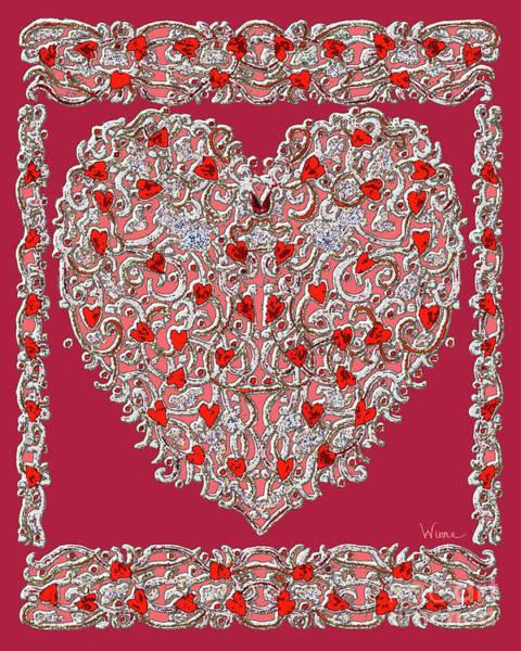Digital Art - Renaissance Style Heart With Dark Red Background by Lise Winne