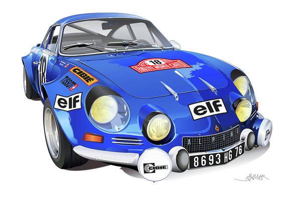 Car Drawing - Alpine Renault A110 by Alain Jamar
