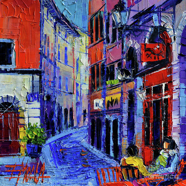 Urban Expressions Wall Art - Painting - Rendez Vous In Vieux Lyon by Mona Edulesco