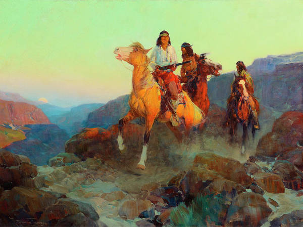Bonfire Wall Art - Painting - Renegade Apaches by Frank Tenney Johnson
