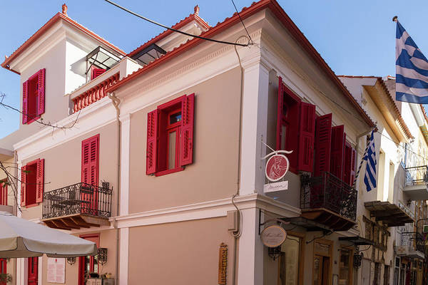Wall Art - Photograph - Rennovated Classical Building And Greek Flags In Nafplion by Iordanis Pallikaras