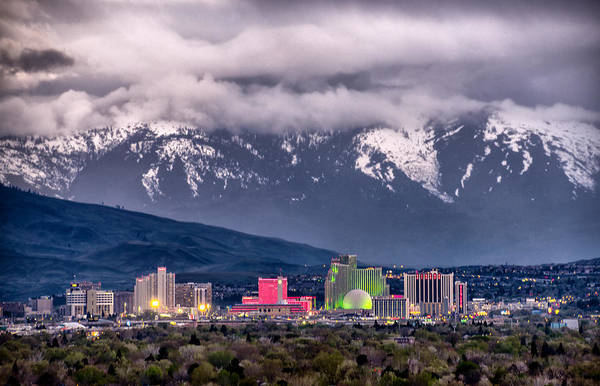 Harrahs Photograph - Reno Skyline - April Storm by Janis Knight