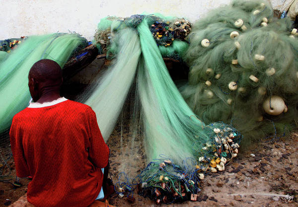 Photograph - Repairing The Nets In Cape Coast by Wayne King