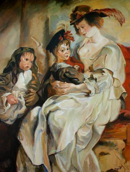 Painting - Replica Of Helena Fourment With Her Children By Rubens by Tigran Ghulyan