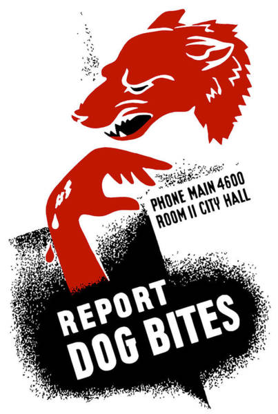 Wall Art - Mixed Media - Report Dog Bites - Wpa by War Is Hell Store