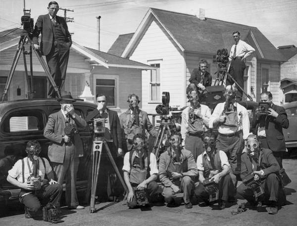 Wall Art - Photograph - Reporters With Gas Masks by Underwood Archives