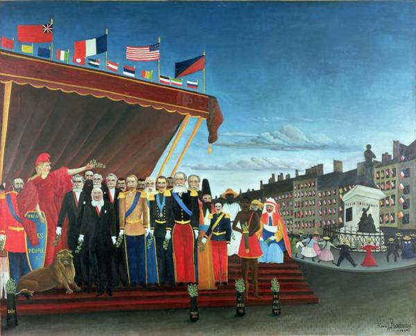 Groups Of People Painting - Representatives Of The Forces Greeting The Republic As A Sign Of Peace by Henri Rousseau