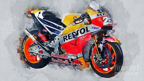 Speed Mixed Media - Repsol Honda Rc213v  by Ian Mitchell