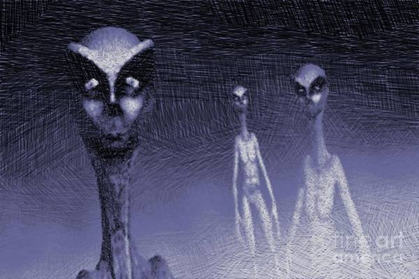 Paranormal Drawing - Reptilian Aliens by Raphael Terra
