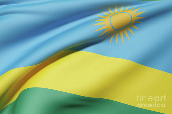 Kigali Wall Art - Digital Art - Republic Of Rwanda Flag Waving by Enrique Ramos Lopez