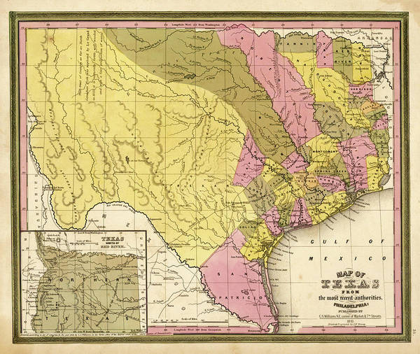 Painting - Republic Of Texas, Map Of 1846  by Henry Schenck Tanner