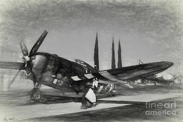 Wall Art - Digital Art - Republic P-47 Thunderbolt Sketch by Tommy Anderson