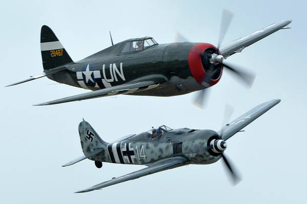 Wall Art - Photograph - Republic P-47g Thunderbolt Nx3395g Focke Wulf Fw 190a-9 N190rf Chino California April 30 2016 by Brian Lockett