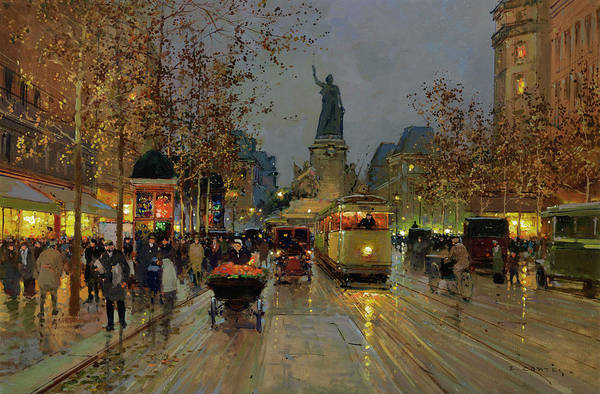 Wall Art - Painting - Republic Square At Night by Edouard Henri Leon Cortes