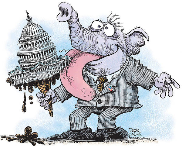 Drawing - Republicans Lick Congress by Daryl Cagle