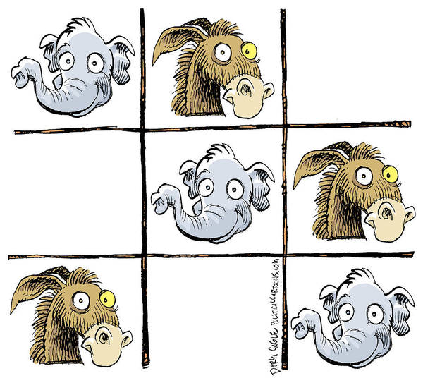 Drawing - Republicans Win Tic Tac Toe by Daryl Cagle