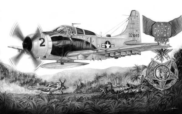 Vietnam Drawing - Rescue At A Shau by Dale Jackson
