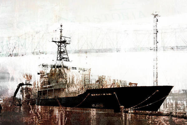 Wall Art - Mixed Media - Research Vessel Atlantis In Astoria Oregon by Carol Leigh